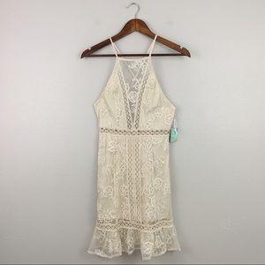 F21 Salt Canyon Collection Boho Lace Cream Dress
